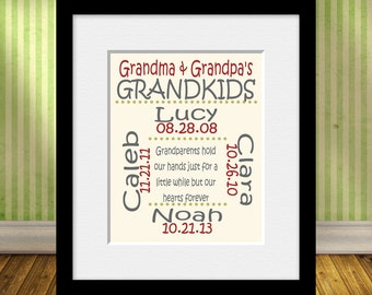 Grandparents Hold Our Hearts, Personalized Grandparent Gift,  Our Grandkids, Gift for Grandma and Grandpa, Grandkid's Names and Birthdates