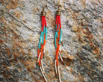 Boho Seed Bead Earrings, Long Fringe Earrings, Seed Bead Earrings, Tassel Seed Bead Earrings, Southwestern Earrings