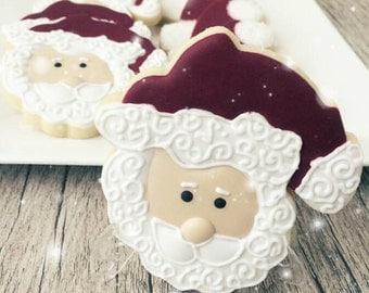 1 Dozen (12) Santa Christmas Cookies