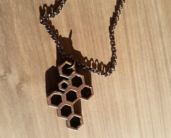 SALE - Copper Electroformed Honeycomb Pendant with Chain