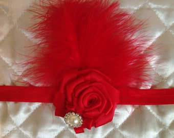 Red Feather Pearl Headband/ Red Flapper Headband/ Baby Girl Headband/ Newborn Photo Prop