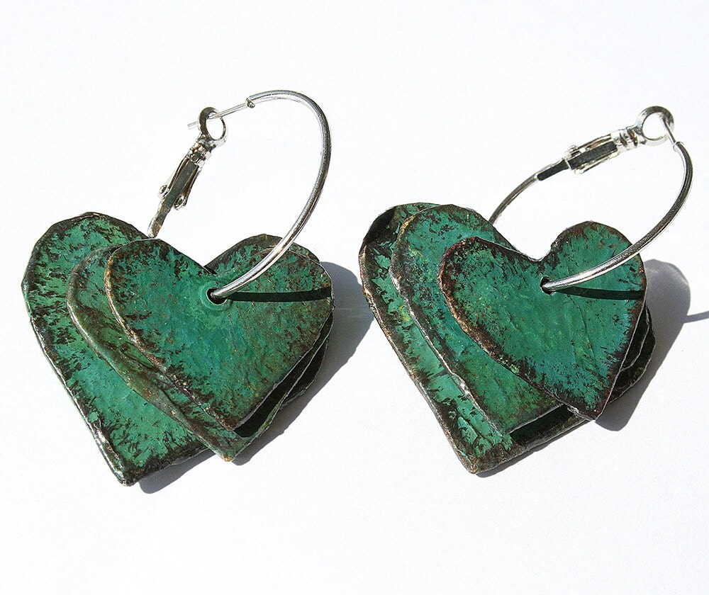 Papier mache earrings 3 rustic hearts on a hoop with copper for How to make paper mache jewelry