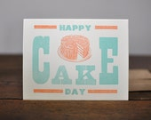 Happy Cake Day, Letterpress Wood Type Birthday Card