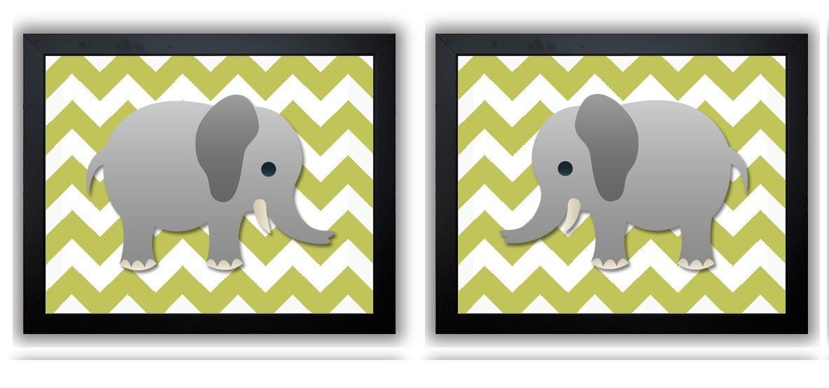 Elephant Nursery Art Nursery Print Set of 2 Elephants Sage Green Chevron Grey Child Art Prints Boy K