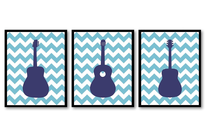 Guitar Nursery Art Nursery Prints Set of 3 Prints Navy Blue Chevron Boys Art Nursery Print Art Baby