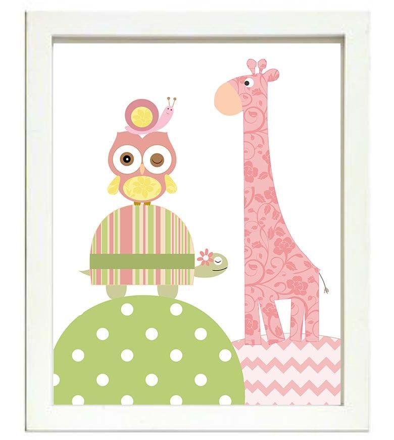 Turtle Giraffe Owl Snale Nursery Art Nursery Print Baby Art Animal Pink Yellow Green Polka Dots Chev