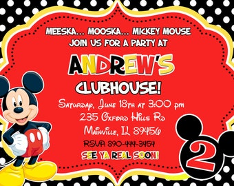 Mickey Mouse Birthday Party Invitation - Digital File