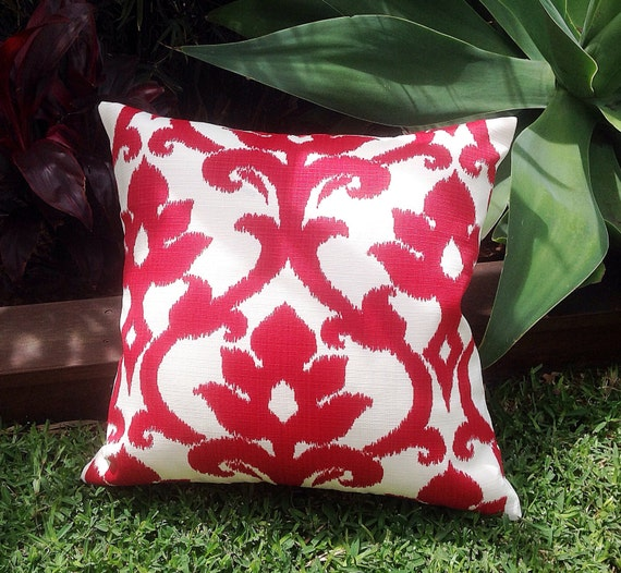 Red & White Outdoor Cushions Ikat Outdoor Pillows Red Outdoor
