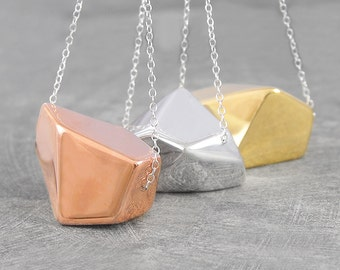 Chunky Gold Necklace - Geometric Rose Gold Necklace - Minimalist Silver Necklace - Silver and Gold Necklace - Modern Necklace - Mixed Metal