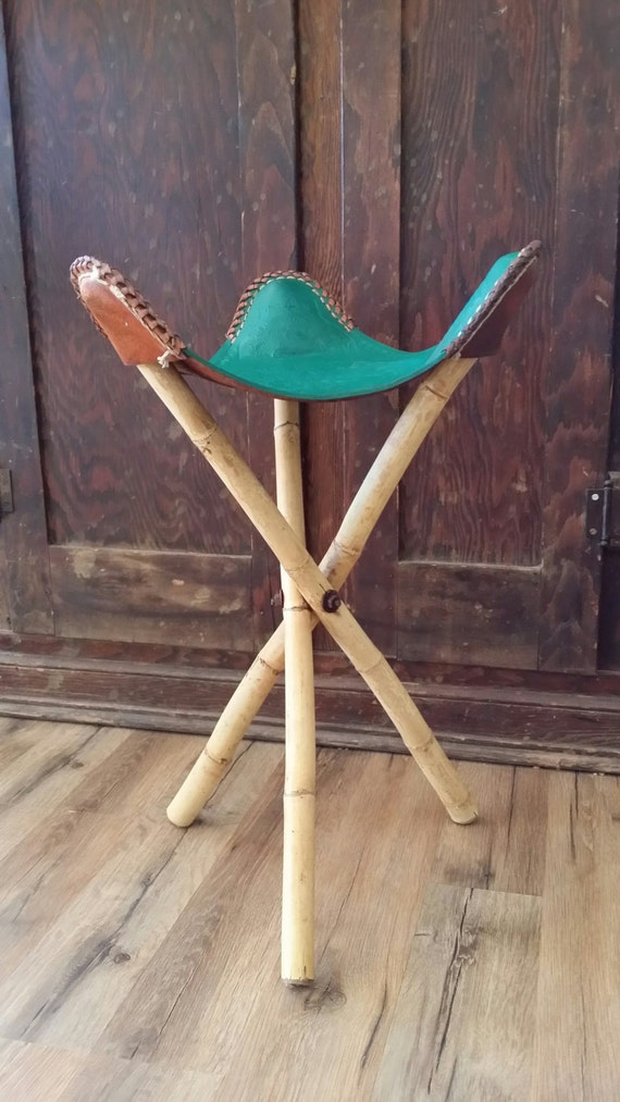 3 Legged Stool Mexico Leather Saddle Chair Green Bamboo Aztec
