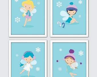 Winter Fairies Nursery Art, Fairies Nursery Print, Girl Nursery Prints, Girls Wall Art, Fairy Prints, Fairies Decor, Fairy Girl Room Decor