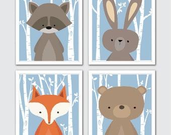 Woodland Animals Wall Art, Woodland Nursery Prints, Woodland Decor, Forest Animals, Woodland Nursery, Woodland Nursery Decor, Birch Trees