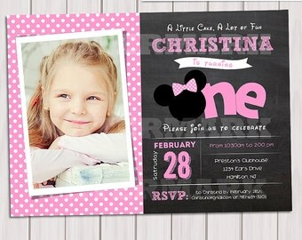 Minnie MOUSE INVITATION, Birthday Invitation, Photo Minnie Mouse,  Printable Invitation, First birthday, Chalkboard