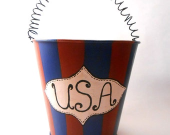 Patriotic USA Bucket Decor
