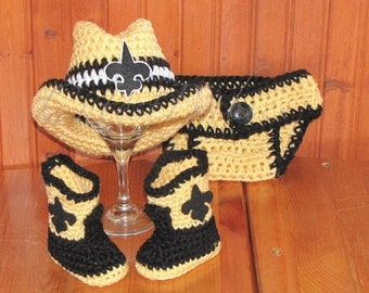 Baby Crochet New Orleans Saints Cowboy Hat, Boots & Diaper Cover. Photo Prop