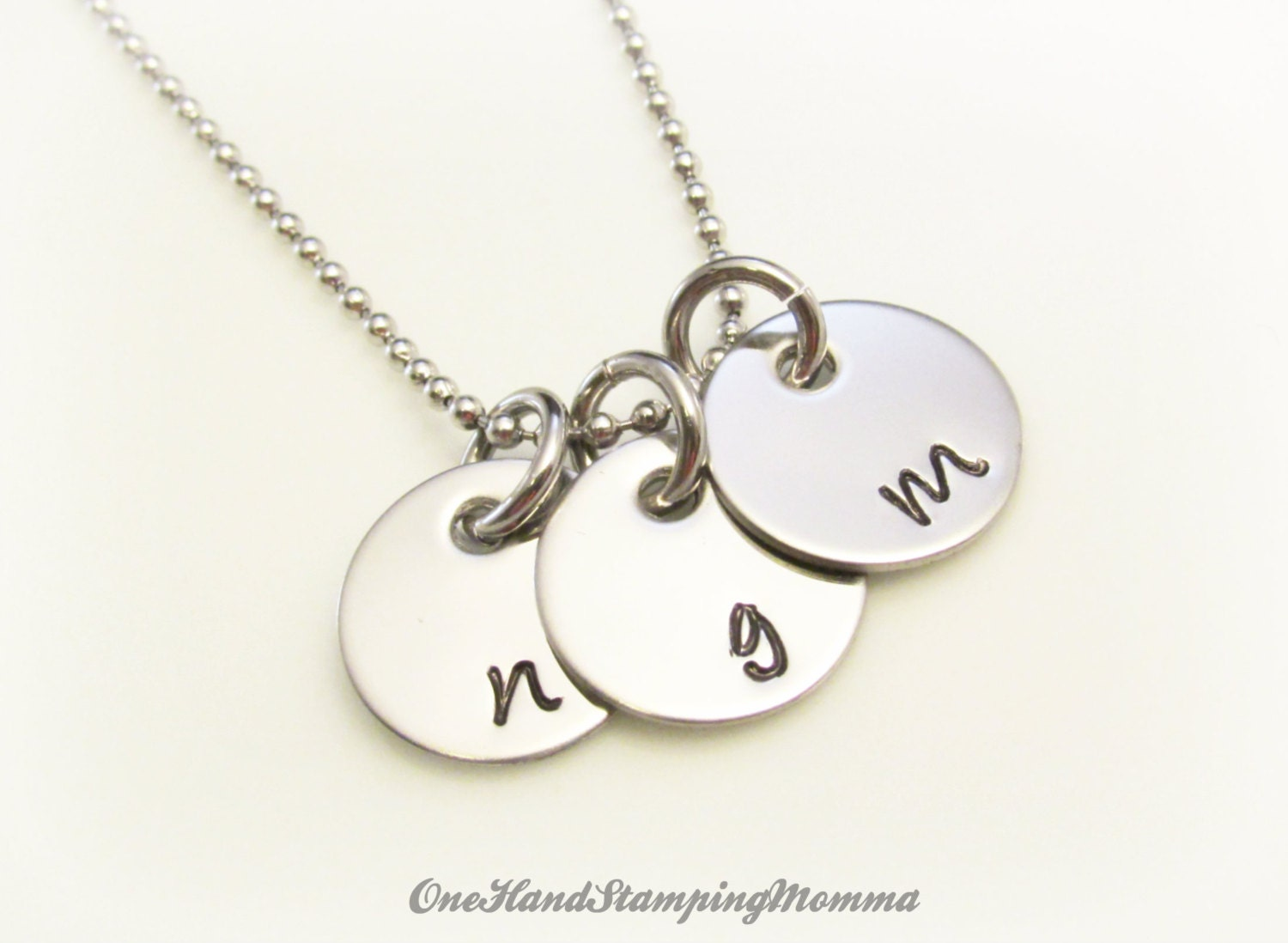 hand stamped necklace personalized mom necklace initial. Black Bedroom Furniture Sets. Home Design Ideas