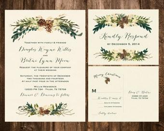 Winter Bohemian Wedding Invitation Set