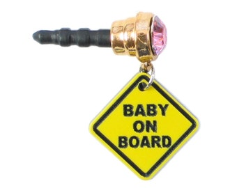 Cute Goldtone BABY On BOARD Round Gem Anti Dust Plug Phone Charm for Cell iPhone Android Tablet iPod