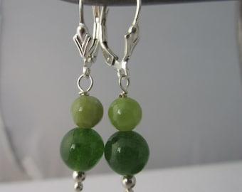 Sterling silver Dangle earring Green Onyx Jade beads