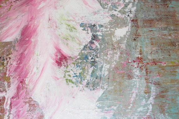 Original abstract painting 9 x 12 acrylic pink gray von jimarieart