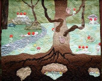 Storybook Quilt Waldorf Amanita Children of the Forest,hand appliqued, Elsa Beskow Book