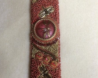 SOLD. Bead Embroidery Cuff with Dragonflies