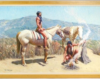 "Tim Solliday ""Apache Indians on Horses"" Original Oil Painting on Canvas-WOW!!"