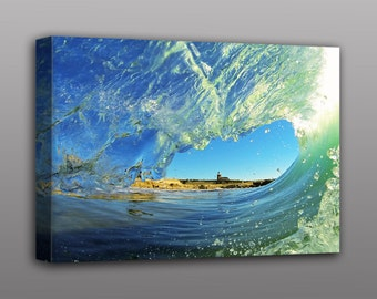 Beach Wave Photography Stretched Canvas Print California Surfing Home Decor