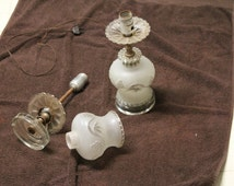 Two Vintage Antique Table Lamps With Matching Glass Shades