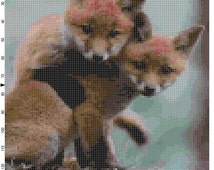 Cross Stitch Pattern Baby Foxes PDF Instant Download Digital File Wild Animal Baby Foxes Cross Stitch Chart