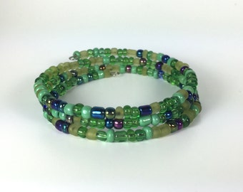 Green, Purple, & Blue Seed Bead Memory Wire Bracelet Inspired by Wicked the Musical