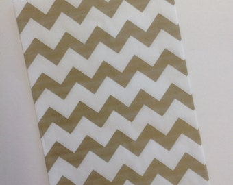 """25 Gold Chevron Paper Favor Bags - Cookies, Candy Bar, Popcorn, Treats, Baby Showers, Weddings, Birthday Parties, Events, 7.75"""" x 5"""""""