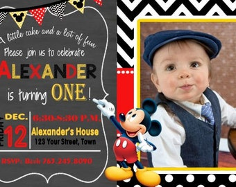 Mickey Mouse First Birthday Invitation, Mickey Birthday Party, Mickey Invitation, 20 Printed Invitations with Envelopes, Mickey Mouse