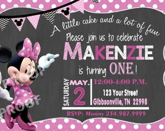 Minnie Mouse Invitation, Minnie First Birthday, Minnie Birthday Party, Minnie Invitation, 20 Printed Invitations with Envelopes