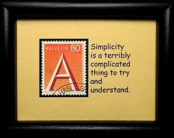 Alphabet A Switzerland -Handmade Framed Postage Stamp Art 0782W