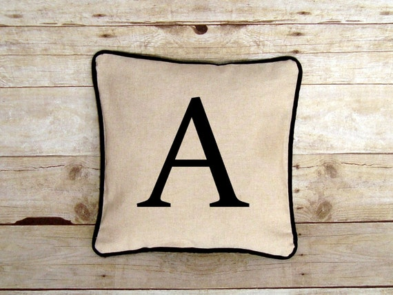 Personalized Pillow Cover - Monogram Pillow - Pillow with Letter - Gift for Him - Linen Fabric - letter pillow case - Man Cave Decor