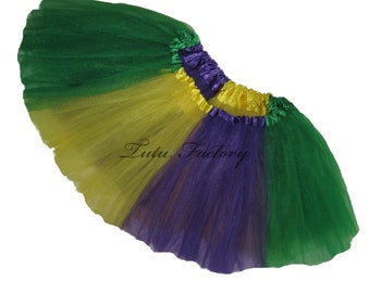 Mardi Gras Tutu . Infant . Toddler . 4-6X Size . Short . Purple . Green . Yellow Tutu