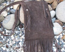 Delicious chocolate brown suede, handmade, new age hippie bag with fringe.