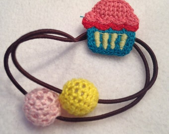 Hand knit ponytail holder cupcake girl hair accessories handmade crochet
