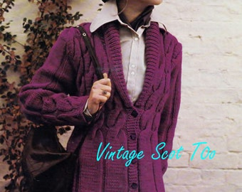 Ladies Chunky / Bulky Knit Jacket  for sizes  34 - 38 ins - Bellmans 1526  - PDF of  Vintage Knitting Pattern