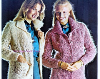 Mohair  Collared Cardigan / Jacket with pockets 32 - 38ins -  Lister 1381 PDF of Vintage Ladies Knitting Patterns