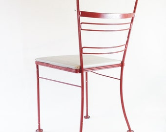 Red Chair - Mid Century Red Metal Ice Cream Chair with Removable Pad - Red Patio Chair - Red Metal Chair - Chair - Yard Furniture - Red
