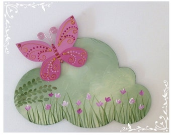 PINK BUTTERFLY  hand painted wooden sign for bedroom's girl