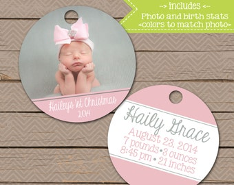 Personalized Christmas Ornament - Baby's First Ornament - double sided - Christmas