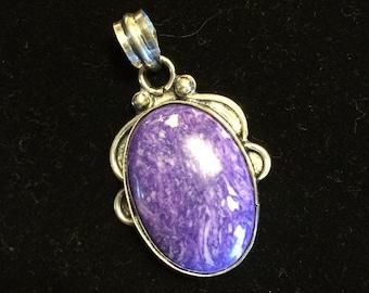 Purple Stone and Silver Pendant