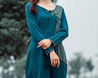 Hand Painted Women's Dress Long Sleeve Maxi Dress Round Neck Autumn Long Dress