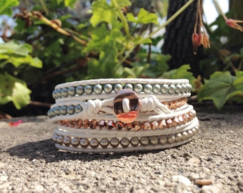 Swarovski Rose Gold Pearl and Crystal Four Wrap Bracelet