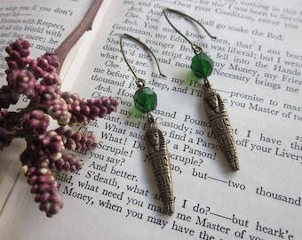 Absinthe Green bead and Sarcophagus earrings