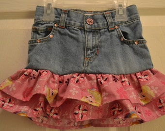 Upcycled jean skirt in Elsa from Frozen print