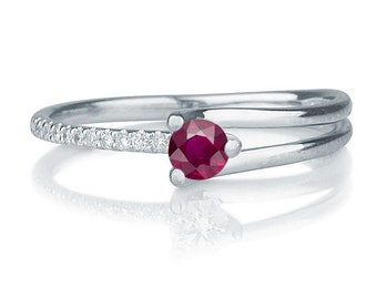 Delicate Ruby Engagement Ring, 14K White Gold Ring, 0.36 TCW Ruby Ring, Art Deco Engagement Ring, Ruby Ring Gold
